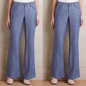 Pre Owned Level 99 Chambray Wide Leg Jeans Sz 31